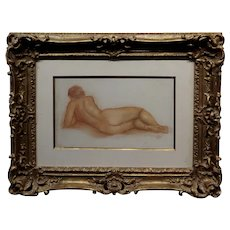 Aristide Maillol -Female Nu allongé Reclined Nude -Sanguine Drawing on paper