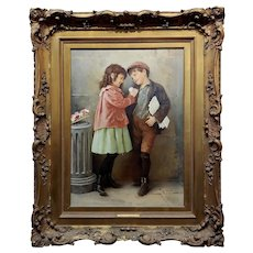 "Karl Witkowski - First Love ""Portrait of a Boy & a Girl"" Oil Painting c.1900"