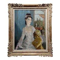 Dietz Edzard -Elegant Aristocratic Woman with her black Servant -Oil painting