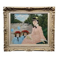 Suzanne Eisendieck- Woman in Pink w/her Twin Daughters at the Park -Oil painting