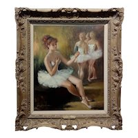 Marta Montserrat - Ballerina getting ready for the Stage- Oil painting
