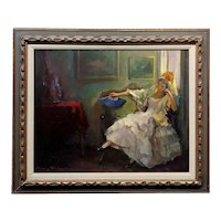 Marcos Blahove -Portrait of a Seated Spanish Maja - Oil painting