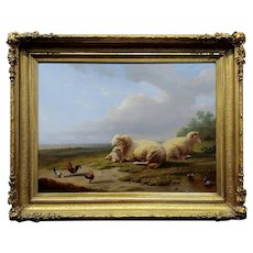 Franz Van Severdonck -Sheep & Chickens resting in a Landscape-19th century Oil painting