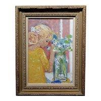 Helene Girod De L'Ain -Blonde Girl putting Wildflowers in a Bottle-Oil painting