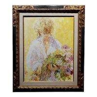 Louis Fabien - The Blonde Flowers Girl -Oil Painting