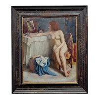 Barry Greene -1930s Nude Female at her Vanity Table -Oil painting