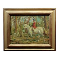Gentleman in a Red Coat Riding a White Horse -1920s Oil Painting