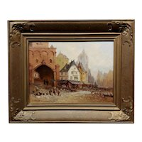 C. Delts -19th Century Street Scene in Old Town-Dutch Oil Painting