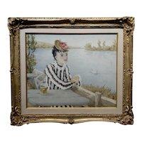 Suzanne Eisendieck -Elegant Woman enjoying a Beer overlooking the Lake-Oil painting