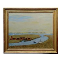 Harry Mayhew -Steamboats in Burlingame in the San Francisco Bay-Oil painting
