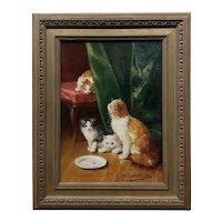 Alfred Arthur Brunel de Neuville -Playful Kittens-19th century Oil painting