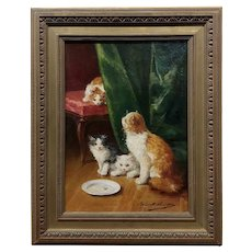 Alfred Arthur Brunel de Neuville -Playful Kittens-19th century Oil painting