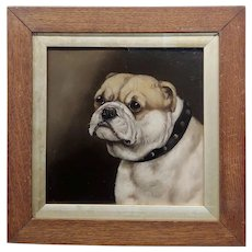 19th century Portrait of an English Bulldog - Oil painting