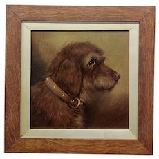 19th century Portrait of an Bedlington Terrier -Oil painting
