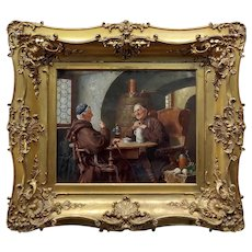 Max Scholz -Two Monks getting drunk on Beer -19th century Oil painting