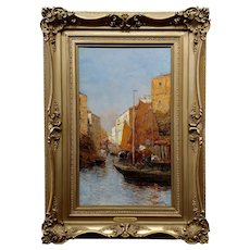 Pietro Moretti -Sailboats in the Venetian Canal-19th century Oil painting