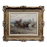 Wladyslaw T. Chmielinski -Village Horse racing through a Polish Landscape-Oil painting