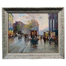 Francois Gerome -1920s Impressionist Paris Street Scene-Oil painting