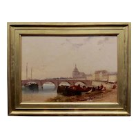 Arthur Joseph Meadows -19th century View of Orleans by the River Loire- Oil painting