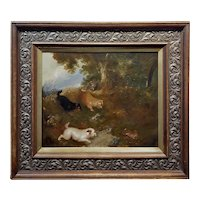 Four Terriers Chasing a Rabbit in the Wild -19th century Oil painting