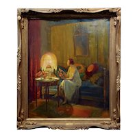 Luc Barbut-Davray -Elegant Lady opening her Jewelry Box-Oil Painting c.1890s