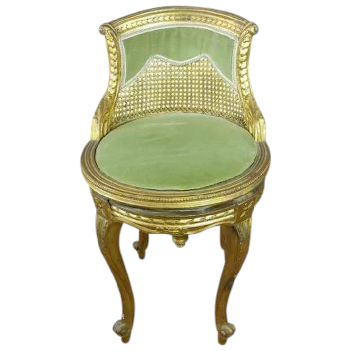 Miraculous French Vanity Stool Gilt Wood W Cane Back Caraccident5 Cool Chair Designs And Ideas Caraccident5Info