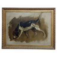 Charles Furse - Study of a Foxhound -19th century Oil painting
