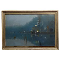 Amelie Burdin - Night time at the Marina - 19th century French Oil Painting 1880s