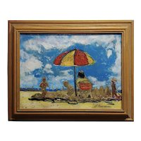 N. Bergerac - Summer Time at the Beach -Oil painting -c1960s