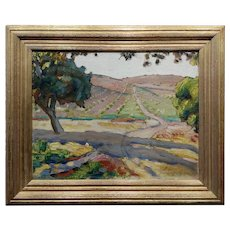 Clark Hobart -1920s California Wine Country Napa Valley Landscape-Oil painting