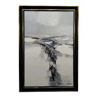 Roger Muhl -Snow in the Vosges Mountain-1961 Oil painting