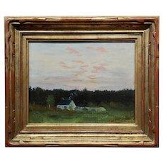 Frank William Cuprien- 1920s Sunset at a Farmhouse landscape-Oil painting