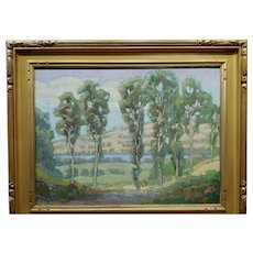Gary Lang - Tree Line Landscape at the Carlsbad Lagoon -Oil painting