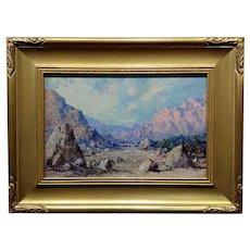 Clinton Johnson 1938 California Mountain Landscape -Oil Painting