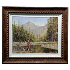 Felice Hrovat -Fly Fisherman in action in an American North West Landscape-Oil painting