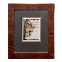 Yoshiko Yamamoto - Flyfishing along the River -Original Color Woodblock