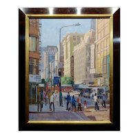 Alex Schaefer -Diamond District Busy Streets in Downtown LA -Oil painting