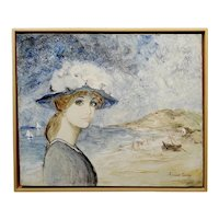 Bernard Charoy -Portrait of a Young Girl in a South of France Beach-Oil painting