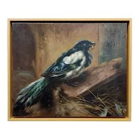 Piet van Engelen -The Thieving Magpie Bird -19th century Oil painting
