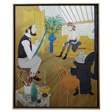 Philippe Noyer -Toulouse Lautrec sketching a model in his Studio-Oil Painting