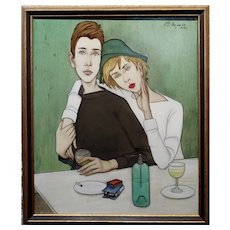 Philippe Noyer -Two Young Lovers having drinks at a Bar in Paris-Oil Painting