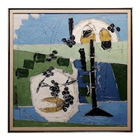 Claude Venard - 1957 Abstract Still Life with Grapes - Oil painting
