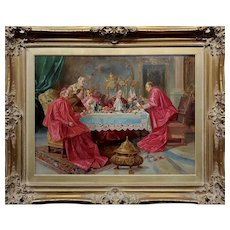 Bartolini -Cardinals having a Wine Party-19th century Oil Painting