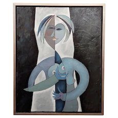 Phillipe Marchand -Cubist Portrait of Man touching Woman's Breast-Oil painting