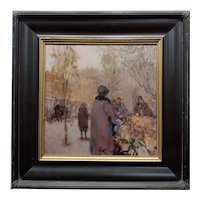 Ken Moroney -The Parisian Flower Seller -Oil painting