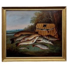 James B. Coleman -Catch of the day Still life of Fishes -19th c. Oil painting