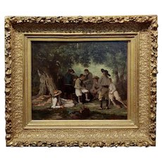 Pierre Charles Poussin -Picnic In The Forest-19th century French Oil painting
