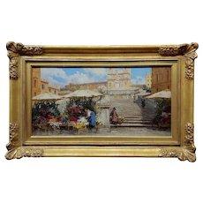 Filippo Anivitti -Flower seller on the Spanish Steps in Rome-Oil painting-c1910s