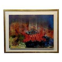 Leonardo M. Nierman -1964 Abstract Volcano Eruption-Oil painting