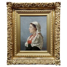 Klar -19th century portrait of a Tyrolean Woman-Oil painting